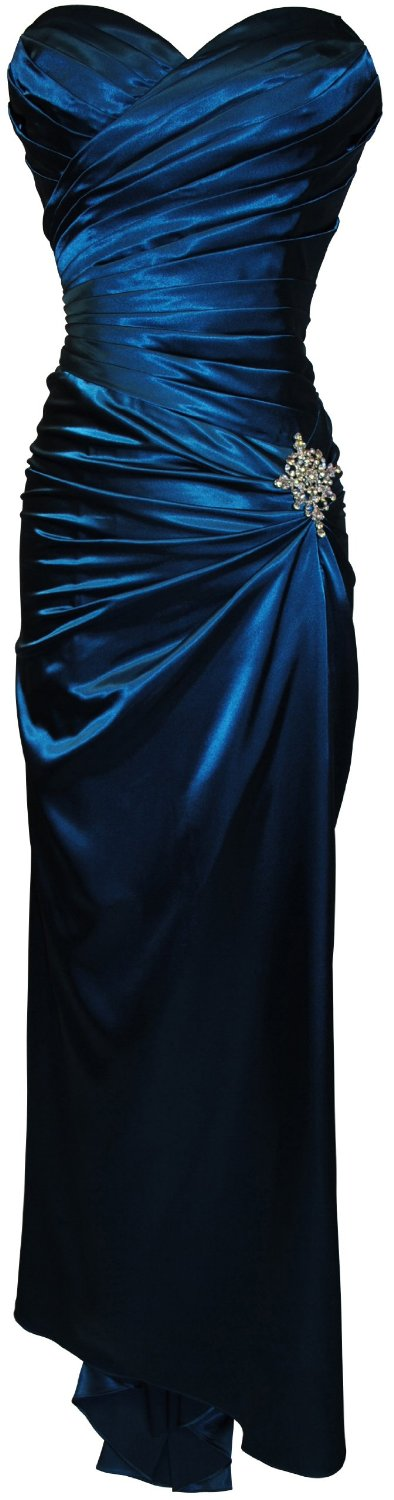 Dresses to Wear to a Wedding - Strapless Long Satin Bandage Gown Bridesmaid Dress Prom Formal Crystal Pin