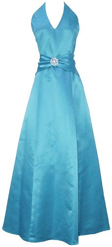 Dresses to Wear to a Wedding - Satin Halter Dress Crystal Pin Prom Holiday Gown Formal Bridesmaid