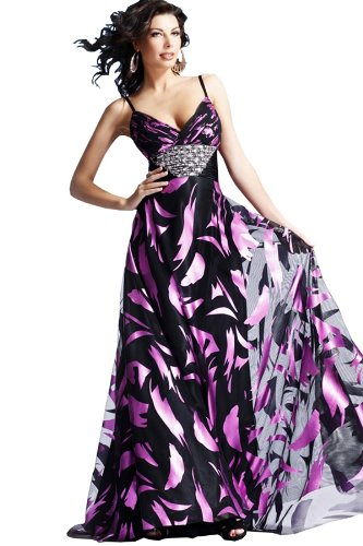 Long Spaghetti Strap Black and Fuscia Dress with Metallic like Printing