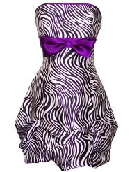 Zebra Strapless Satin Bubble Prom Dress Holiday Cocktail Party Gown w/ Color Bow