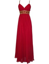 Greek Goddess Chiffon Starburst Beaded Full Length Dress