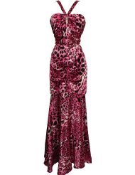 Animal Print Satin Halter Gown with Crystal Pin