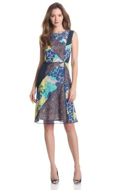 Dresses to Wear to a Wedding - BCBGMAXAZRIA Women's Annie Print and Lace Blocked Dress