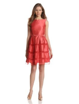 Dresses to Wear to a Wedding - Taylor Women's Organza Inset Fit And Flare Dress