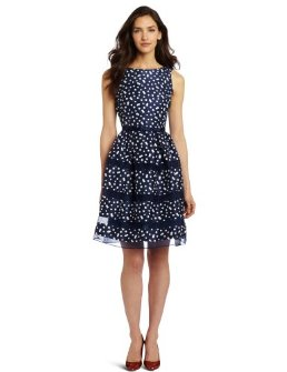 Dresses to Wear to a Wedding - Taylor Women's Dotted Organza Inset Party Dress