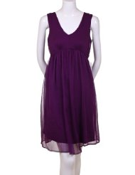 Love 21 Maternity Crinkled Chiffon Short Lined Dress Magenta