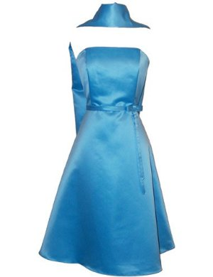 50's Strapless Satin Formal Bridesmaid Prom Dress Holiday Gown Aqua