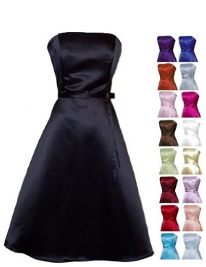 50's Strapless Satin Formal Bridesmaid Prom Dress Holiday Gown Black