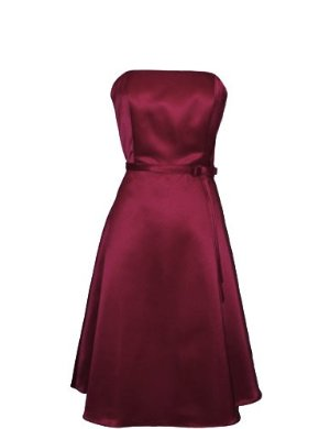 50's Strapless Satin Formal Bridesmaid Prom Dress Holiday Gown Burgundy