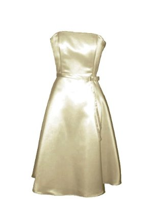 50's Strapless Satin Formal Bridesmaid Prom Dress Holiday Gown Champagne
