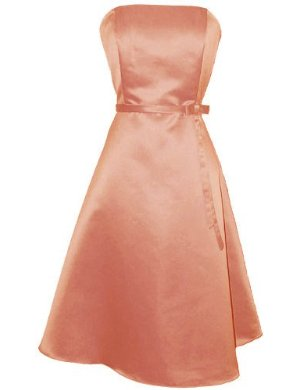 50's Strapless Satin Formal Bridesmaid Prom Dress Holiday Gown Coral
