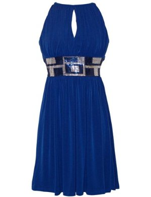 Blue Stretch Jersey Knee-length Holiday Party Cocktail Dress Sequin Trim