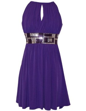 Purple Stretch Jersey Knee-length Holiday Party Cocktail Dress Sequin Trim