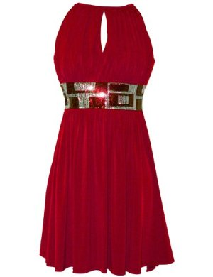 Red Stretch Jersey Knee-length Holiday Party Cocktail Dress Sequin Trim