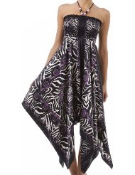Zebra Dresses to Wear to a Wedding - Chains and Zebra Inspired Print Satin Feel Beaded Halter Smocked Bodice Handkerchief Hem Dress