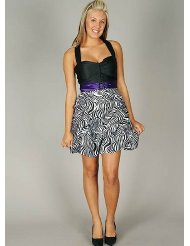 Zebra Dresses to Wear to a Wedding -  Colorblock Zebra Print Brooch Formal for Bridesmaid Formal Prom