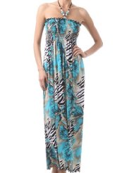 Zebra Dresses to Wear to a Wedding - Wild Zebra Inspired Graphic Print Beaded Halter Smocked Bodice Long / Maxi Dress ( 2 Colors )