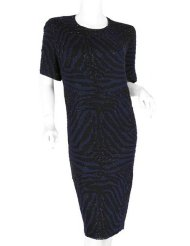 Zebra Dresses to Wear to a Wedding - BASIX II Zebra Blue Black Beaded Dress 3X