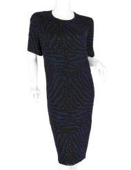 Zebra Dresses to Wear to a Wedding - BASIX II Zebra Blue Black Beaded Dress 3X