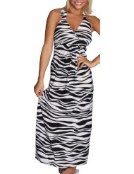 Zebra Dresses to Wear to a Wedding - Alki'i Zebra Print Casual Evening Party Cocktail Long Halter Maxi Dress