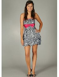 Zebra Dresses to Wear to a Wedding - Strapless Zebra Print Bow Formal for Bridesmaid Formal Prom