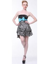 Zebra Dresses to Wear to a Wedding - Satin Strapless Bubble zebra Short Cocktail Dress