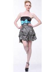 Zebra Dresses to Wear to a Wedding - Satin Strapless Bubble zebra Short Cocktail Dress