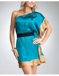 Dresses to Wear to a Wedding - bebe One Shoulder Silk Belted Mini Dress