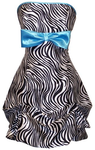 Zebra Strapless Satin Bubble Prom Dress Holiday Cocktail Party Gown w/ Color Bow to Wear to a Wedding